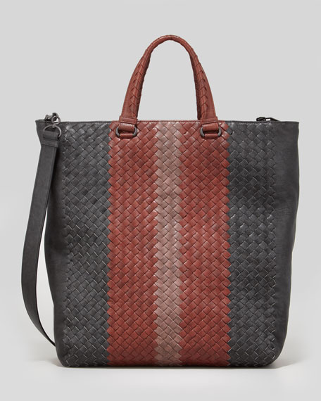 Men's Multicolor Woven Shoulder Tote Bag, Gray/Red