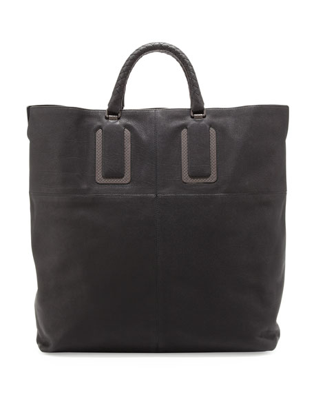 Woven Leather Tote Bag, Black