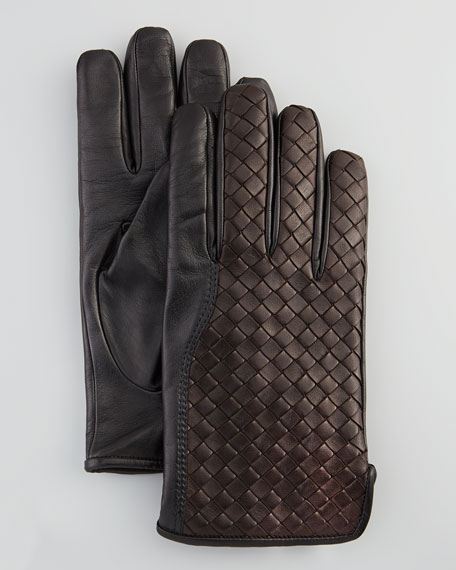 Men's Woven Leather Gloves, Black/Brown