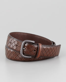 Bottega Veneta Scolpito Scored Leather Belt, Brown