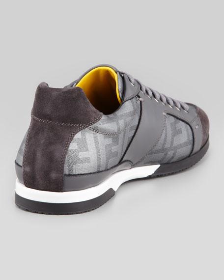 Metallic Zucca-Print Low-Top Sneaker, Silver