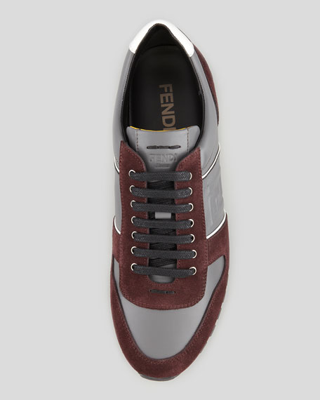 Suede-Leather Low-Profile FF Sneaker