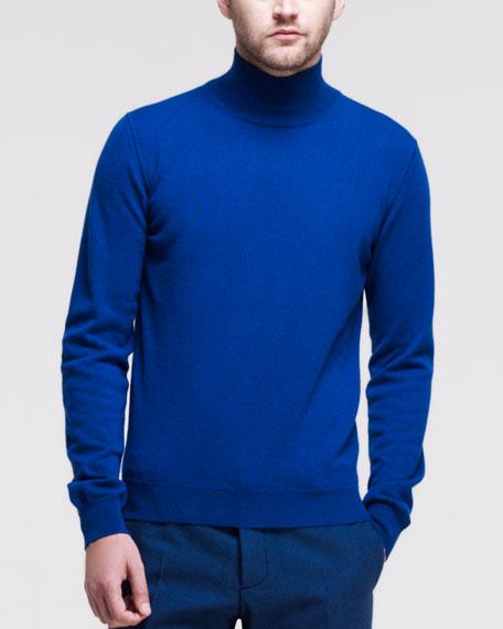 Cashmere Mock-Neck Sweater, Blue