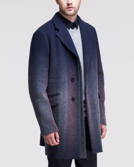 Needlepunch Single-Breasted  Coat, Navy