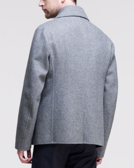 Bristol Double-Breasted Peacoat, Gray