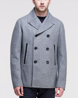 Jil Sander Bristol Double-Breasted Peacoat, Gray