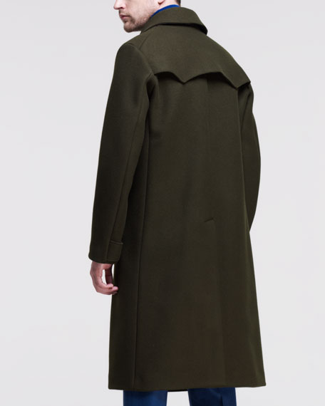 Raw-Edge Double-Breasted Coat, Green