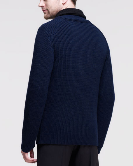 Shawl-Collar Knit Cardigan, Navy/Black