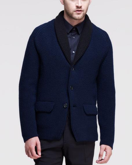 Shawl-Collar Knit Cardigan, Navy/Black