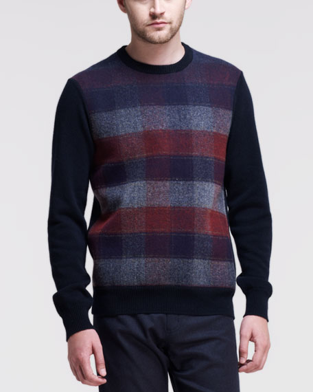 Check-Graphic Knit Sweater, Blue/Red