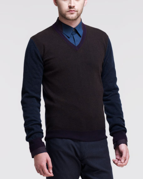 Colorblock V-Neck Wool Sweater, Brown/Multi