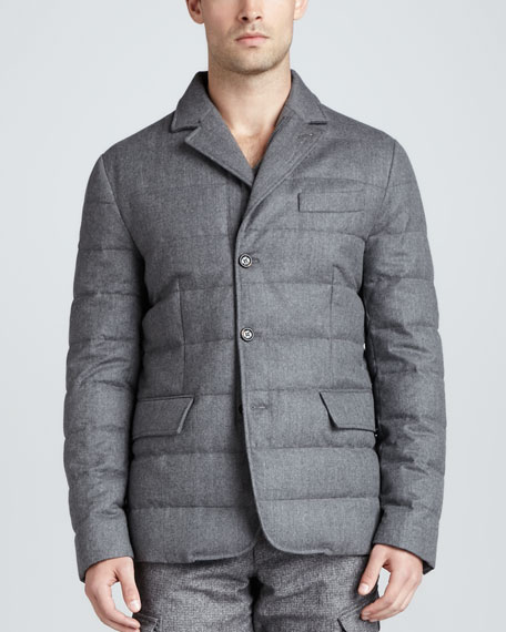 Moncler Rodin Quilted 3-Button Jacket, Gray
