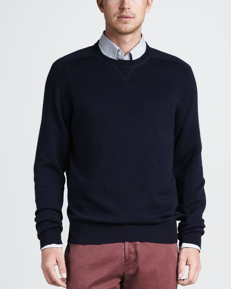 Crewneck Cotton-Wool Sweater, Navy