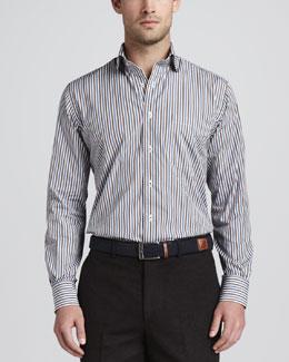 Newport Striped Sport Shirt, Navy
