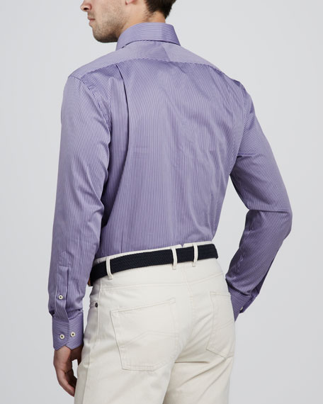 Goodwood Striped Sport Shirt, Eggplant