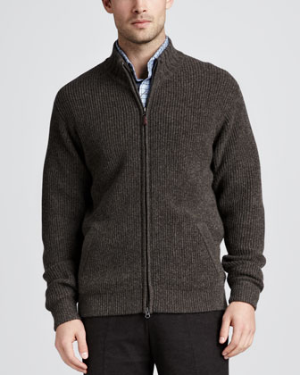 Arran Cashmere Zip Cardigan, Timber