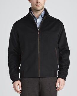 Peter Millar Patrick Wool Coat, Black