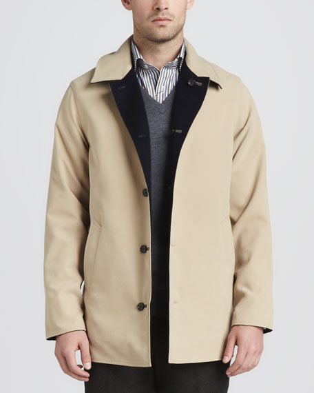 Matthew Reversible Coat, Navy/Cream