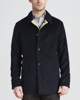 Peter Millar Matthew Reversible Coat, Navy/Cream