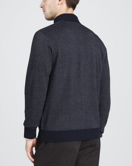 Birdseye Hidden-Zip Sweater, Navy