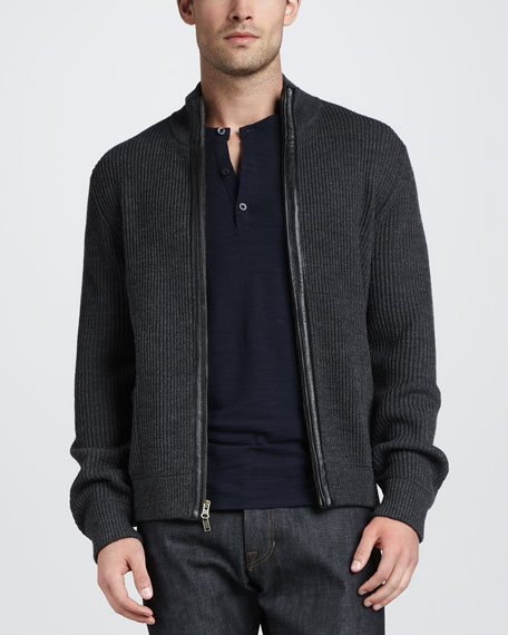 Full-Zip Sweater with Leather Trim, H. Shadow