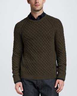 Vince Fisherman Cable-Knit Sweater, Green