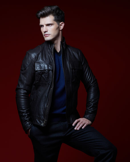 Leather Moto Jacket, Dark Brown