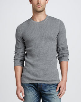 Vince Thermal Crewneck Sweater, H. Cinder
