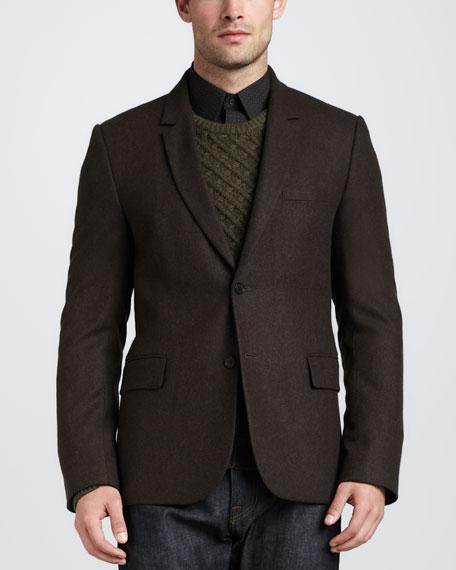 Two-Button Tweed Blazer, Dark Spruce
