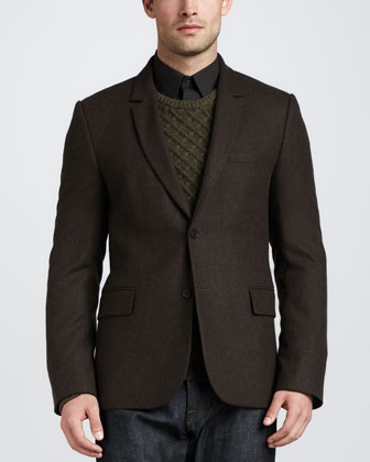 Two-Button Tweed Blazer, Dark Spruce