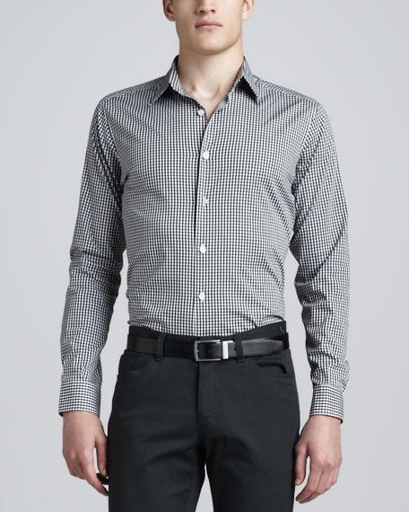 Gingham Sport Shirt, Black