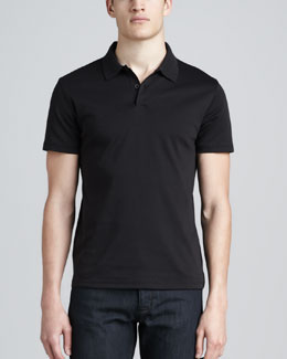 Theory Short-Sleeve Jersey Polo, Black