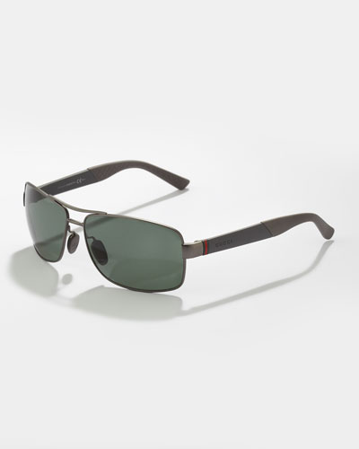 Gucci Rectangular Metal Polarized Sunglasses, Gray