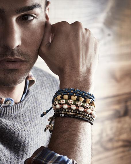 Men's Silver-Metal Clasp Bracelet, Black