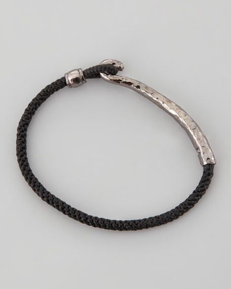 Men's Silver-Metal Clasp Bracelet, Black