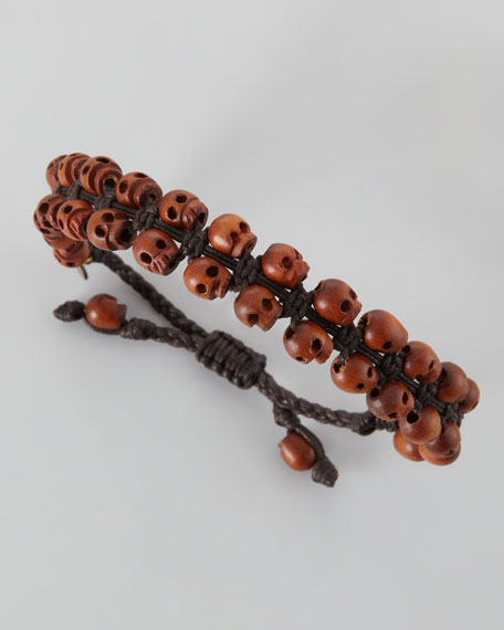 Men's Stacked Wood-Skull Bracelet, Brown