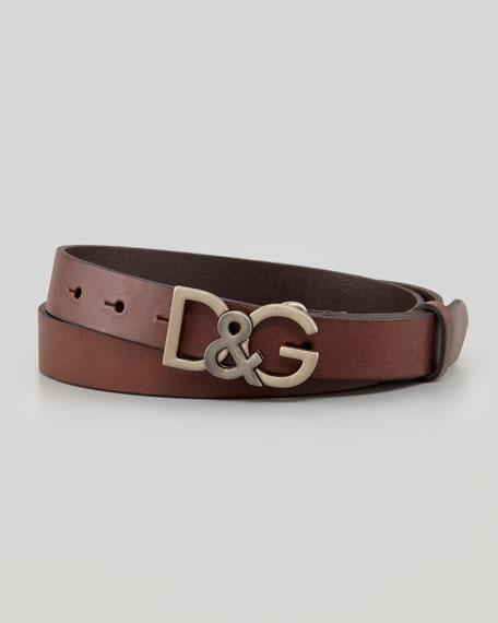 Leather Logo-Buckle Belt, Dark Brown