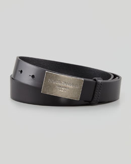 Dolce & Gabbana Logo Plaque Leather Belt, Black