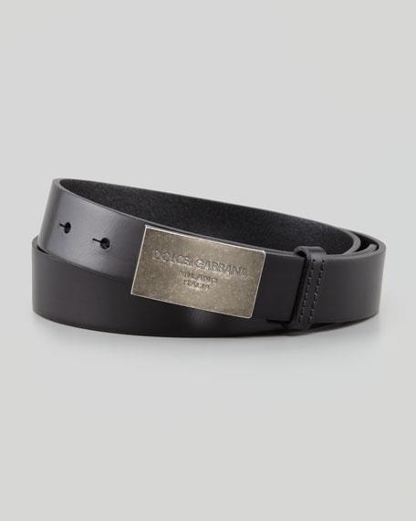 Logo Plaque Leather Belt, Black