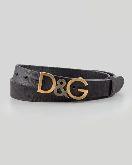 Leather Logo Letters Belt, Black
