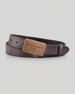 Dolce & Gabbana Distressed Logo Plaque Belt, Black