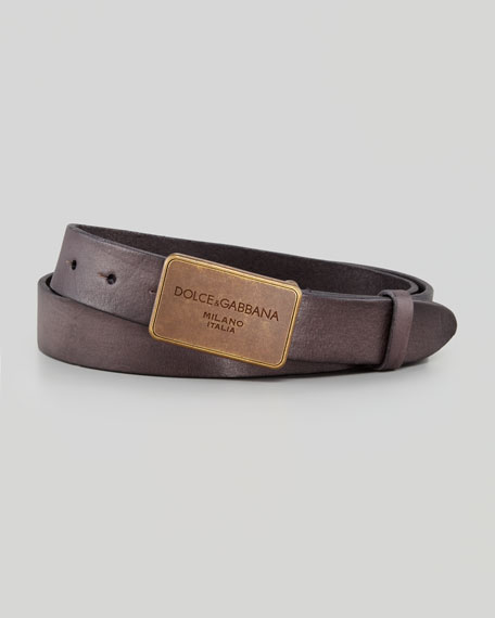 Distressed Logo Plaque Belt, Black