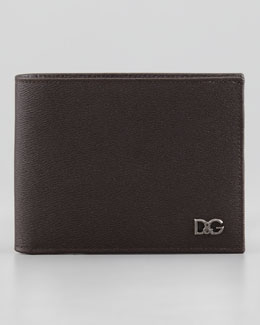 Dolce & Gabbana Plaque Logo Bi-Fold Wallet, Dark Brown