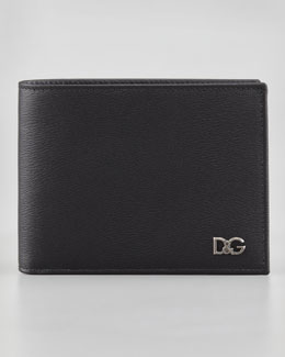 Dolce & Gabbana Leather Bi-Fold Wallet, Black
