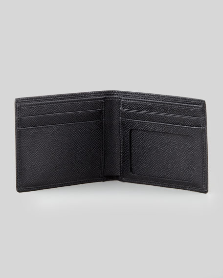 Bi-Fold Wallet with ID Holder, Black