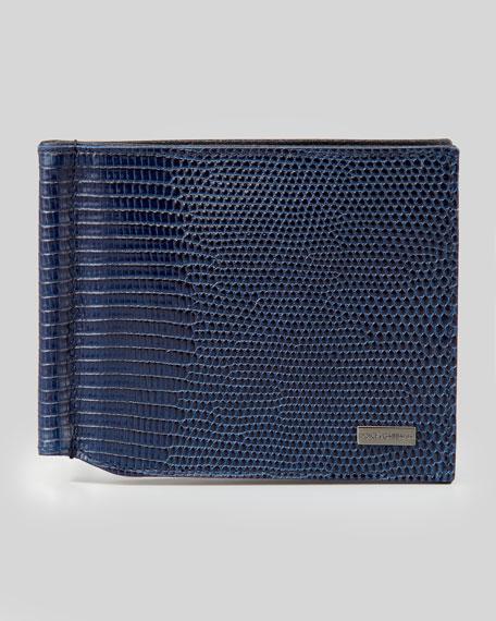 Bi-Fold Wallet with Money Clip, Blue