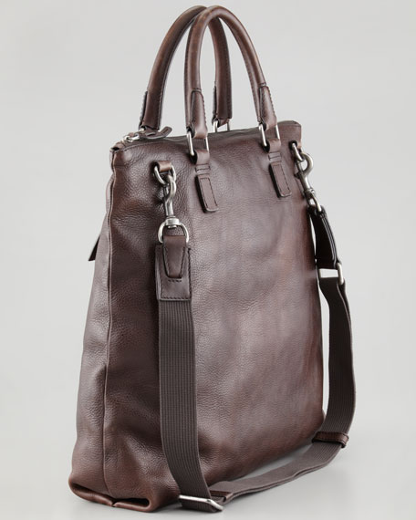 Harry Men's Zip-Top Tote Bag, Dark Brown
