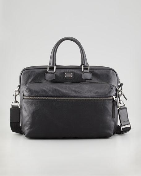 Hank Leather Laptop Briefcase, Black
