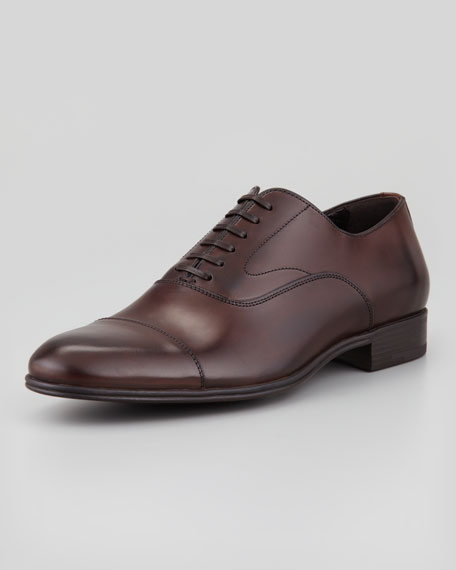 Leather Cap-Toe Lace-Up Shoe, Brown
