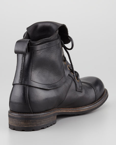 Military Cap-Toe Flap Boot, Black